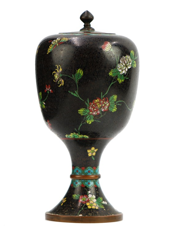 BLACK CLOISONNE FOOTED JAR WITH LID