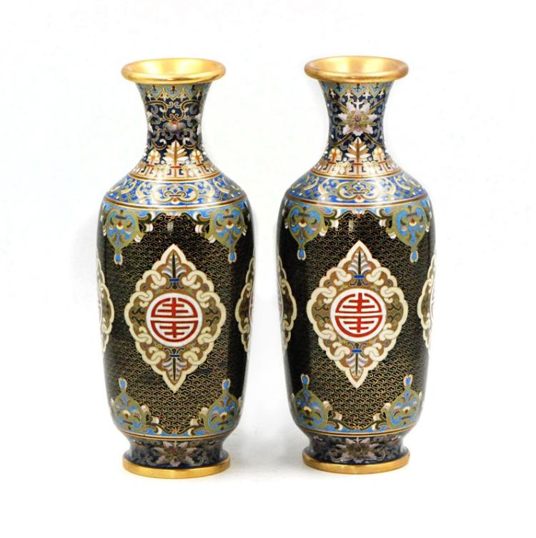 PAIR OF BLACK CLOISONNE VASES