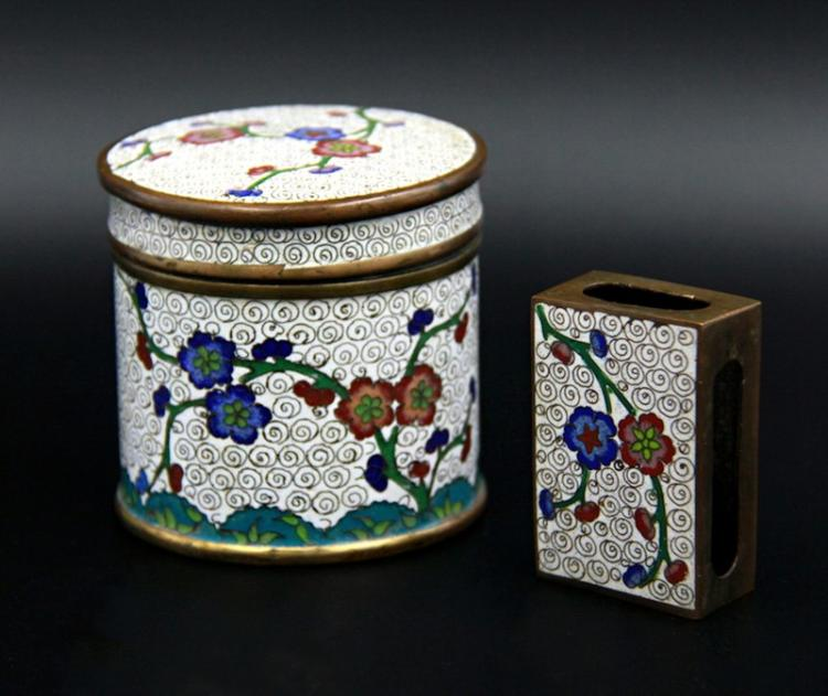CLOISONNE ENAMEL SMOKING SET