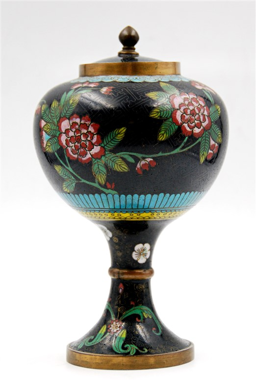 FOOTED CLOISONNE CONTAINER