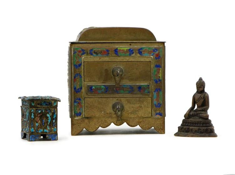 BRONZE AND COPPER BOX WITH BUDDHA SET
