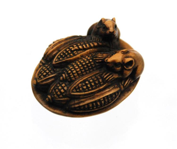 CORN AND MICE NETSUKE