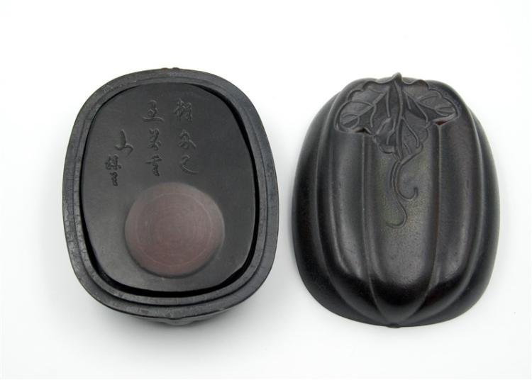 PUMPKIN SHAPED INKSTONE AND BOX