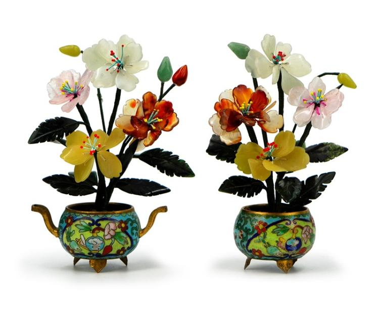 PAIR OF SMALL CLOISONNE JADE FLOWERS