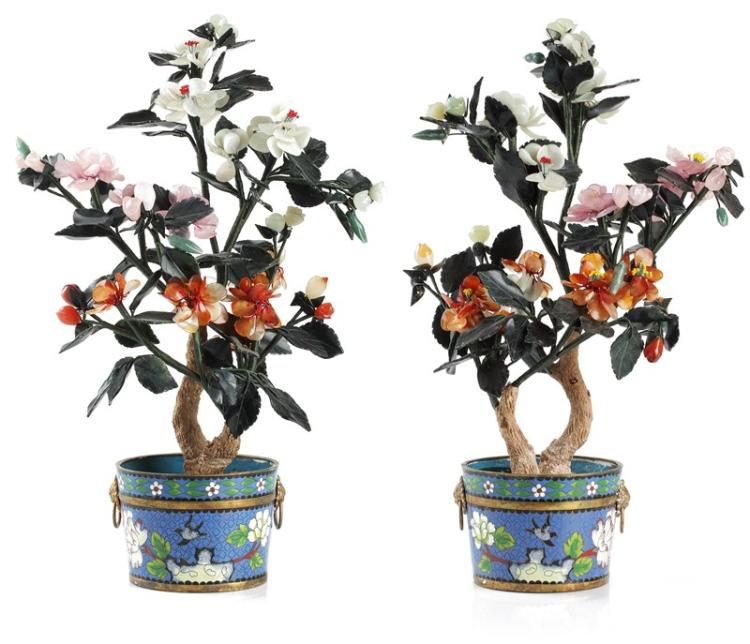 PAIR OF ENAMELED POTS WITH JADE FLOWERS
