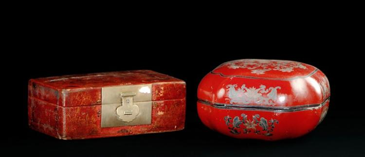 PAIR OF RED LACQUER BOXES