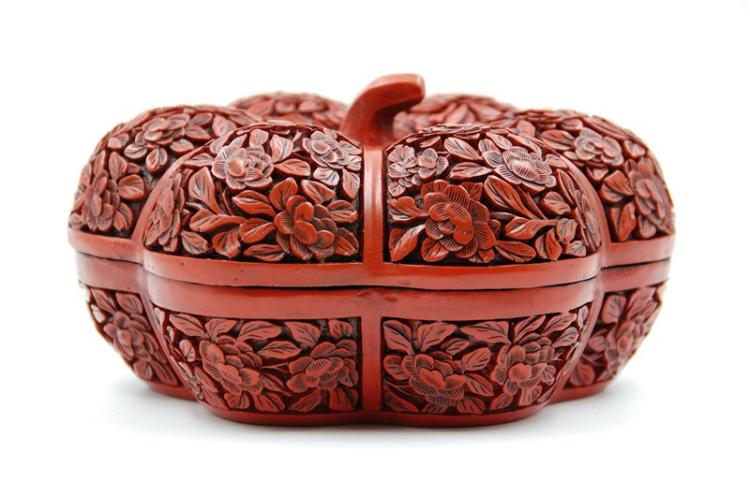 PUMPKIN SHAPED CINNABAR LACQUER BOX