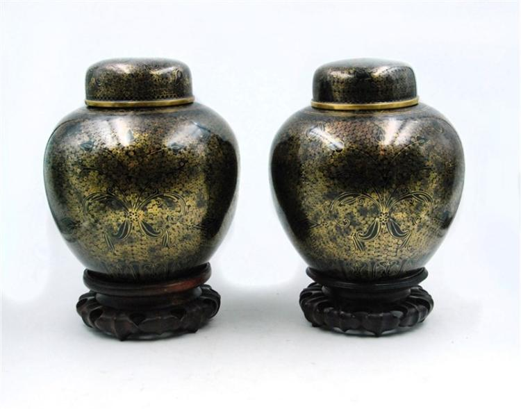 PAIR OF BLACK CLOISONNE JARS
