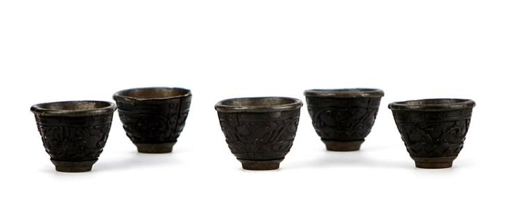 SILVER LINED COCONUT SHELL WINE CUPS