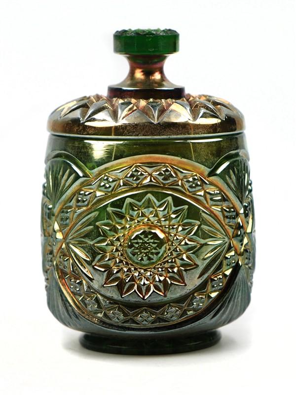 GREEN CARNIVAL GLASS CRACKER JAR