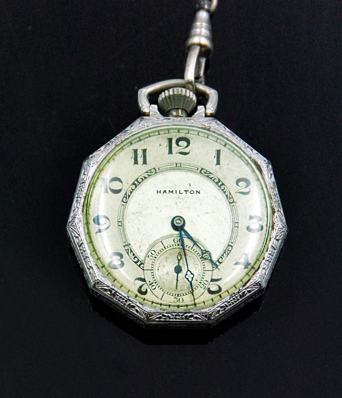 HAMILTON POCKET WATCH WITH A CHAIN