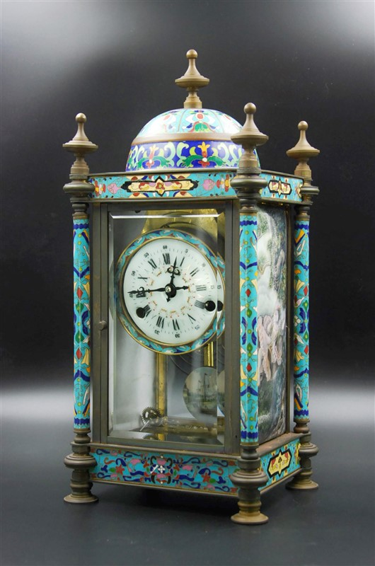 BLUE CLOISONNE CLOCK