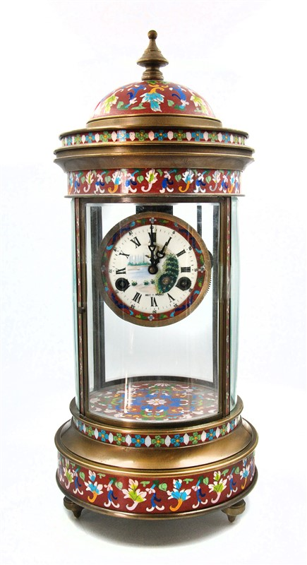 RED CLOISONNE MANTLE CLOCK