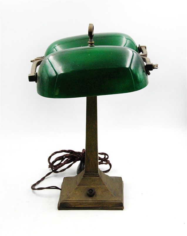 DOUBLE SHADE GREEN BANKERS LAMP