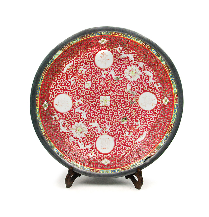 RED GLAZED LONGEVITY PLATE FRAMED IN PEWTER