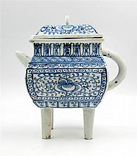 FOOTED BLUE AND WHITE TEAPOT