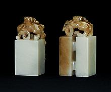PAIR OF CARVED AGATE SEALS