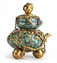 STACKED PEACH CLOISONNE VESSEL