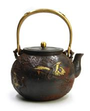 GILT DECORATED IRON TEA POT