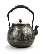 SILVER AND GOLD DECORATED IRON KETTLE
