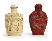 PAIR OF CARVED SNUFF BOTTLES