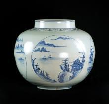 KOREAN BLUE AND WHITE GLOBULAR JAR