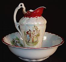 Porcelain bowl and pitcher with courting scene pitcher.  15in. T.