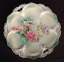 RS Prussia plate with flowers, 11in. Dia.
