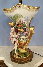 Old Paris  vase converted into lamp with figural and fruit basket, 18in . T, 12in. W.