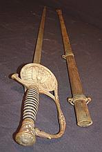GAR sword marked Boston with embossed U.S. blade with original scabbard.