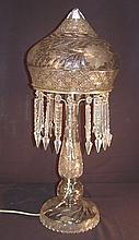 Very large antique cut glass lamp in excellent condition, 29in. T, 12in. Dia.