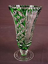 Brilliant green cut to clear vase, 10in. T, 9in. W.