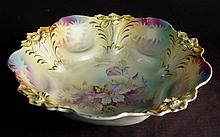 RS Prussia bowl with purple flowers, 9in. Dia.