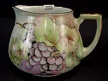Porcelain Juice Pitcher, hand painted, artist signed, 5in. T, 7in. Dia. Ca. 1900.