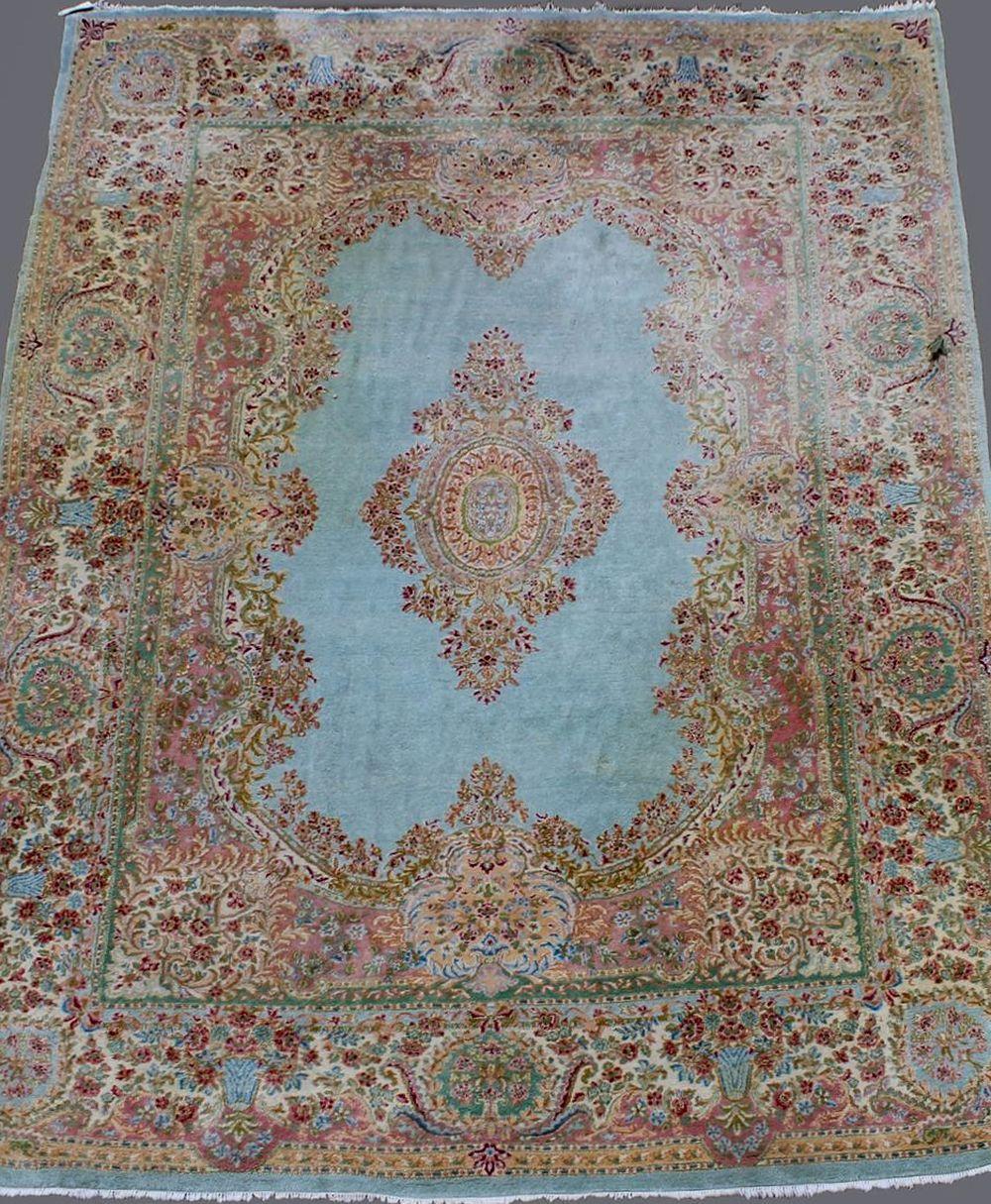Beautiful Oversized Kerman Medallion Center Oriental Rug