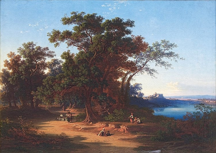 Johann Jakob Frey, Peasants on a Road, with Castel Gandolfo and Lake Albano on the right