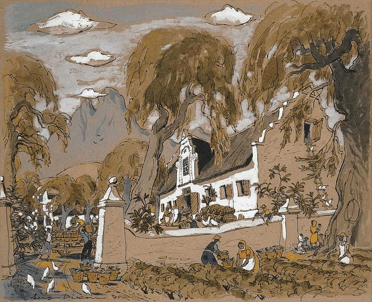 Leng DIXON South African 1916-1968 Cape Homestead