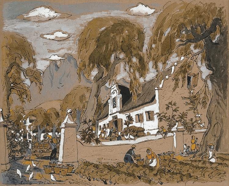 Leng DIXON South African 1916-1968 Cape Homestead