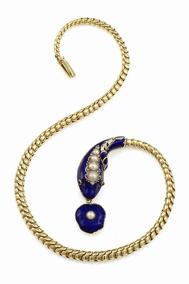 Gold and enamel serpent necklace, mid 19th century