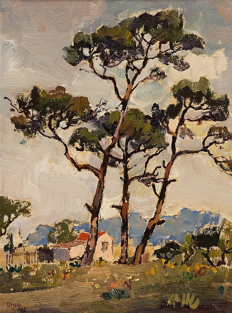 Gregoire Johannes Boonzaier - Trees and Cottages