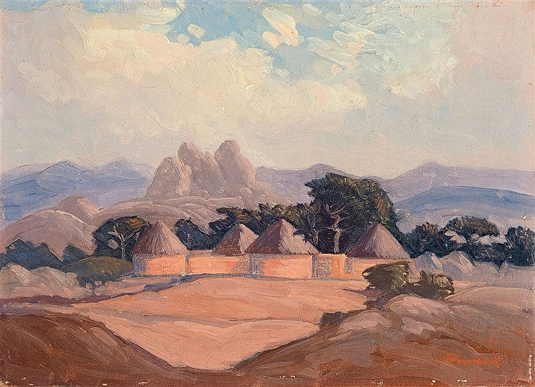 Jacob Hendrik Pierneef - Village with Mountains Beyond
