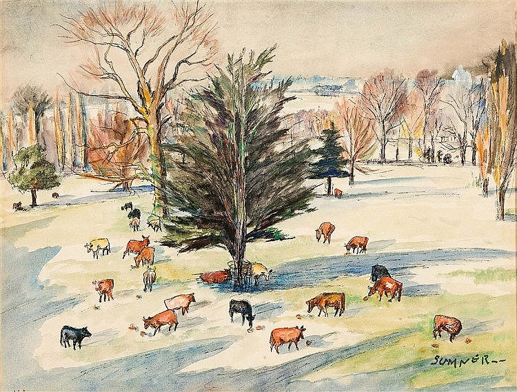 Maud Frances Eyston Sumner - Cows Grazing Beneath the Trees