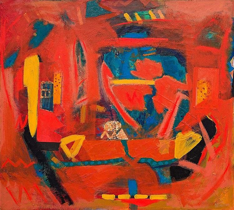 Jabulane Sam Nhlengethwa - Abstract in Orange and Blue