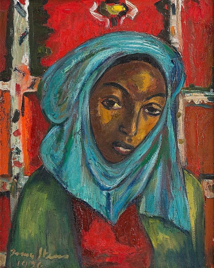Irma Stern - Woman with Blue Headscarf