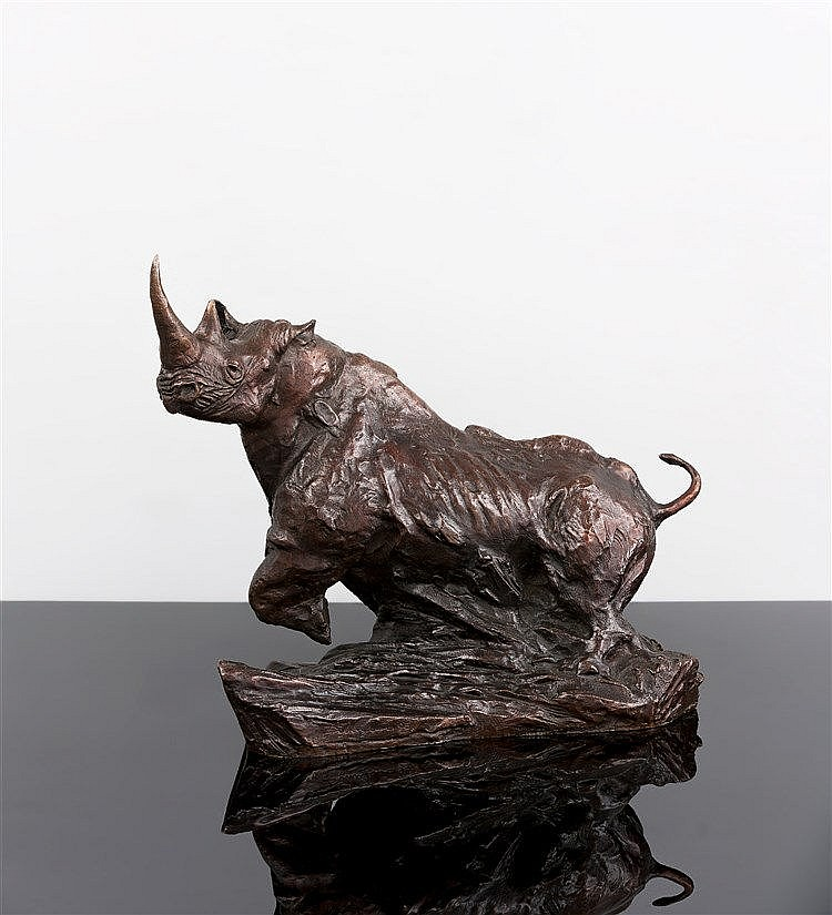 Dylan Lewis - Charging Rhino, maquette