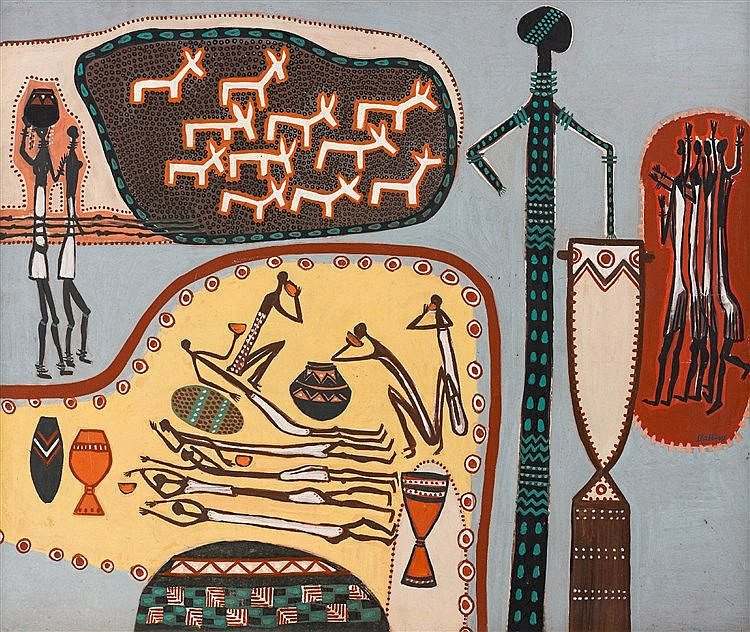 Walter Whall Battiss - Rock Art Composition II