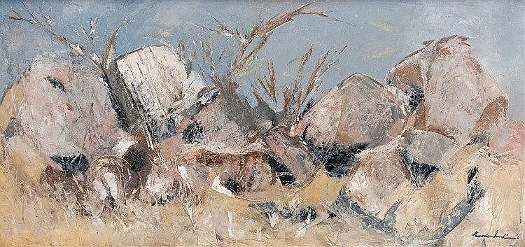 Gordon Frank Vorster - Gemsbok near a Rocky Outcrop