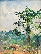 Guilherme Marques d' Oliveira - Coconut Tree; Woman Near a Hut, two