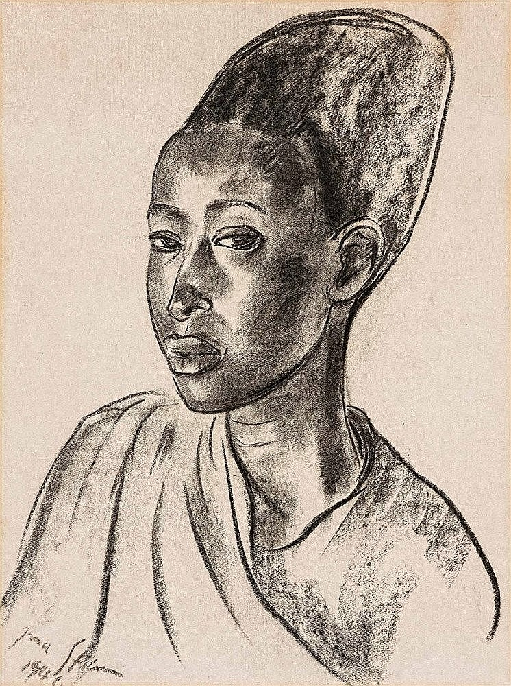 Irma Stern - Watussi Chief's Wife (with Head Dress)