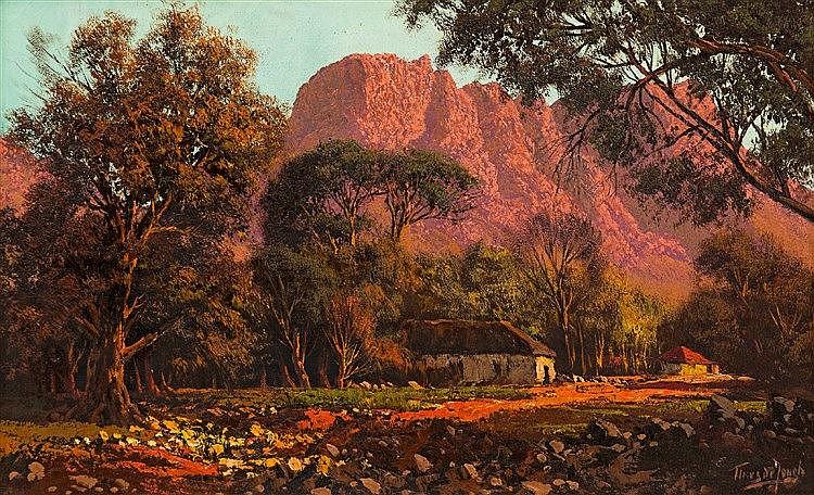 Tinus (Marthinus Johannes) de Jongh - Houses at Sunset